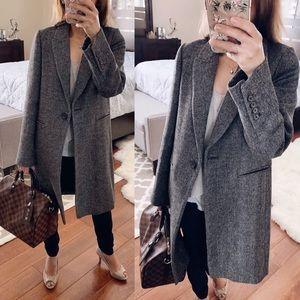 NWT Zara Houndstooth Coat, Gray